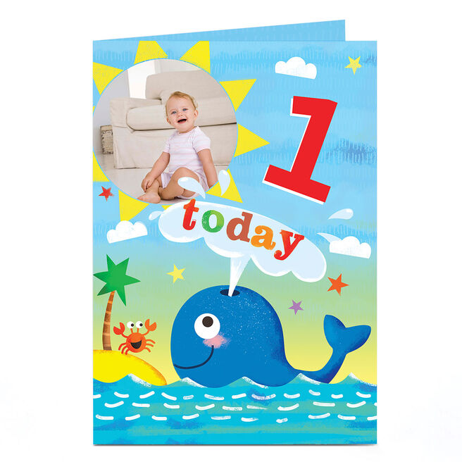 Photo Birthday Card - Whale & Island, Any Age