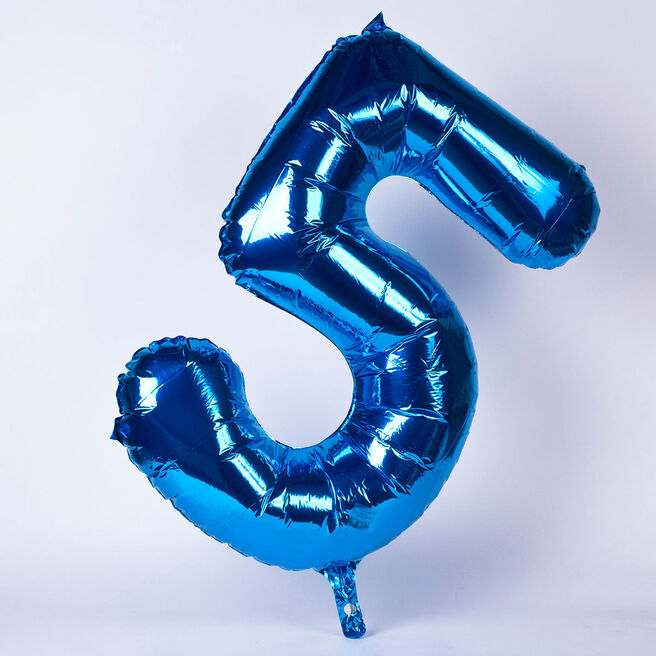 Blue Number 5 Giant Foil Helium Balloon INFLATED