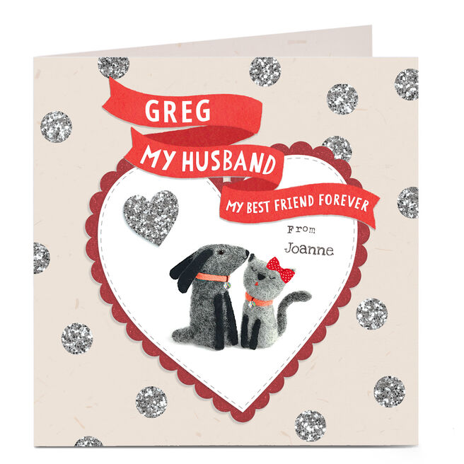 Personalised Card - Cat and Dog Husband