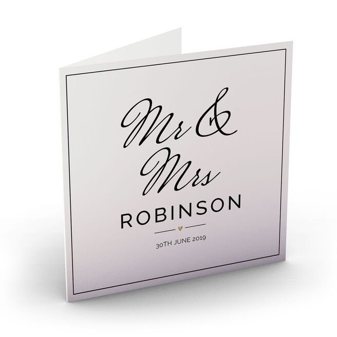 Personalised Wedding Card - Mr & Mrs, Black & White