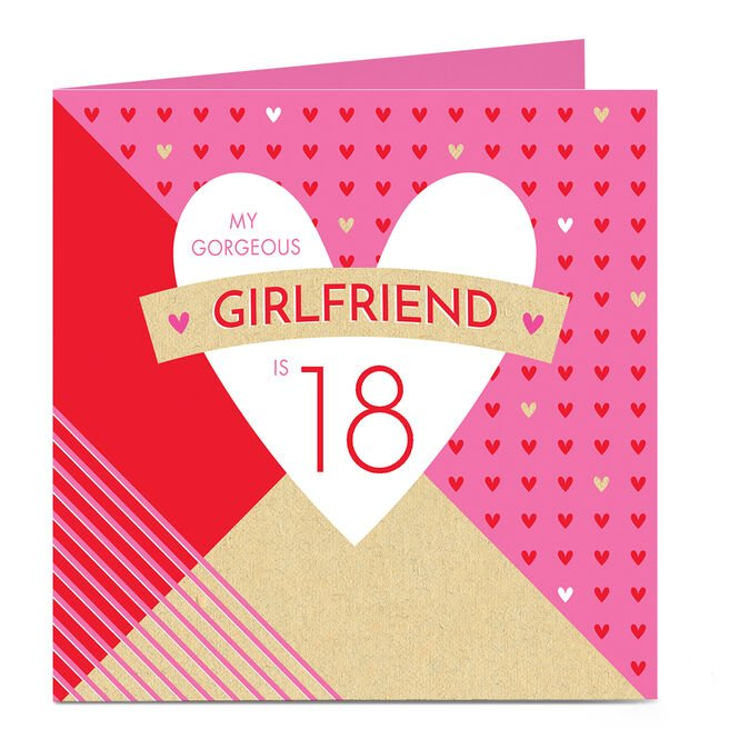 Personalised 18th Birthday Card - Gorgeous Girlfriend