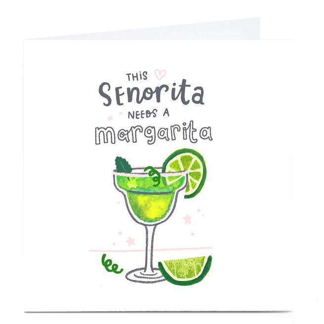 Personalised Blue Kiwi Card - This Senorita Needs A Margarita