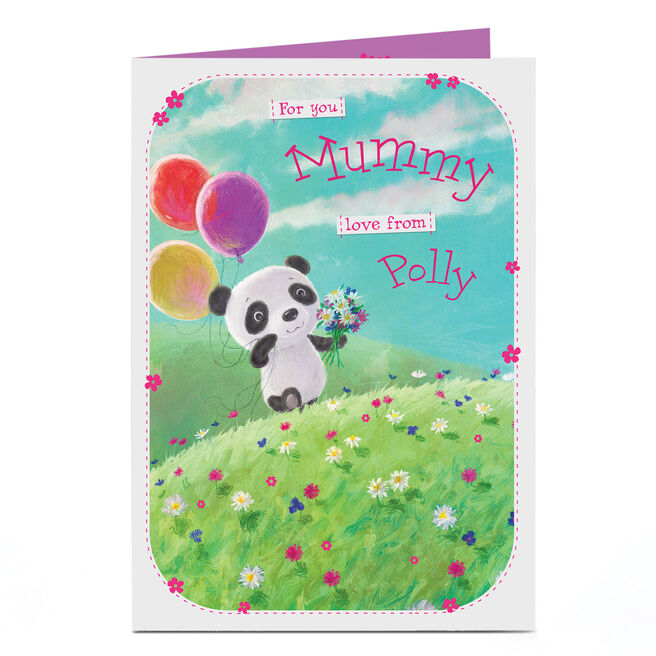 Personalised Card - Panda & Balloons