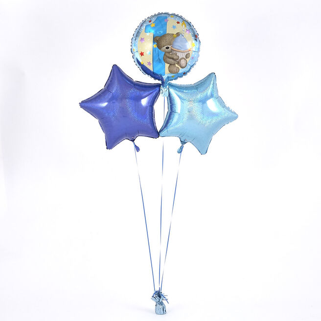 1st Birthday Blue Hugs and Cupcake Balloon Bouquet - DELIVERED INFLATED!