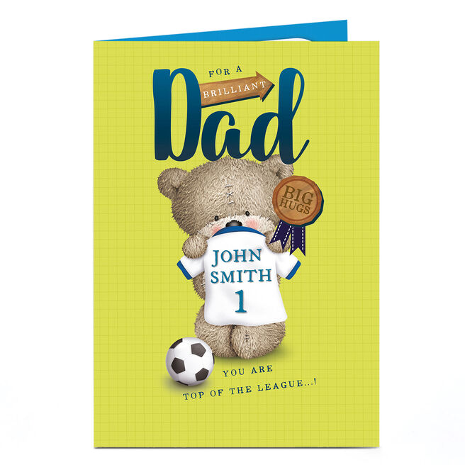 Personalised Hugs Bear Card - Dad Top Of The League