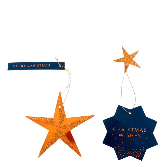 Luxury Navy & Copper Christmas Gift Tags - Pack Of 12