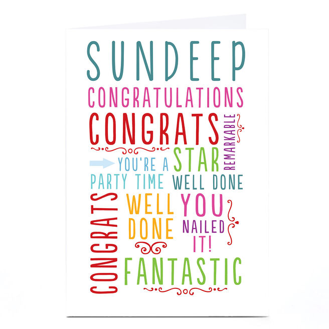 Personalised Congratulations Card - Multicoloured Words