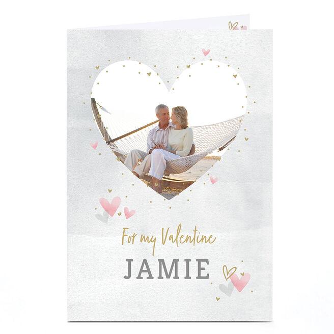 Photo Valentine's Day Card - Watercolour Hearts