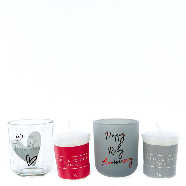 Set of 2 Vanilla Scented Candles - 40th Anniversary