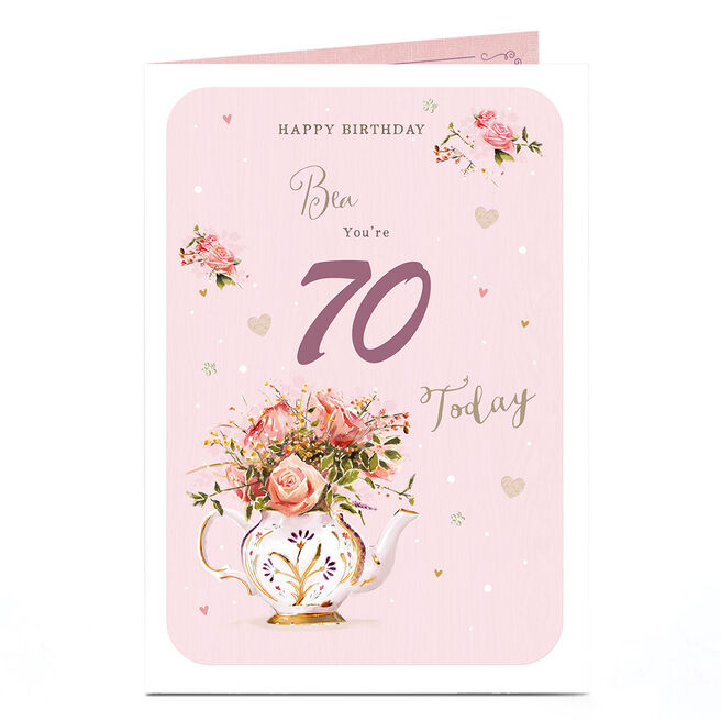 Personalised Birthday Card - Floral Tea Pot, Any Age