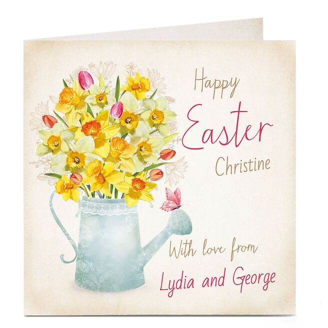 Personalised Easter Card - Daffodils Watering Can