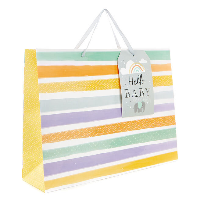 Large Landscape Gift Bag - Stripes, Hello Baby