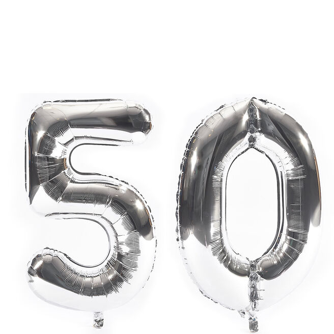 Age 50 Giant Foil helium Numeral Balloons - Silver (deflated)