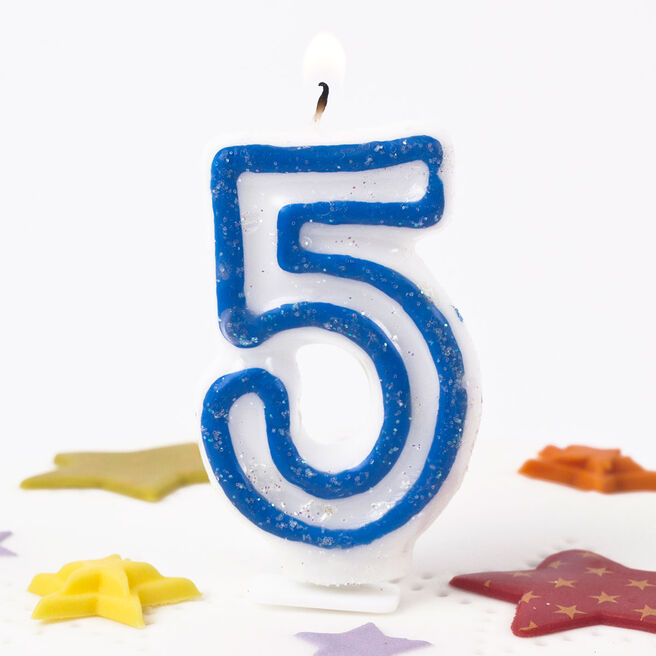 Blue Glittery Number 5 Birthday Candle