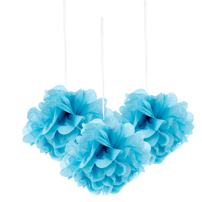 Mini Tissue Paper Pom-Pom Party Decorations - Powder Blue (Pack Of 3)