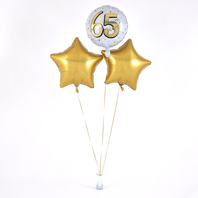 65th Birthday Gold Balloon Bouquet - DELIVERED INFLATED!