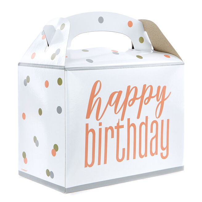 Rose Gold Happy Birthday Party Boxes - Pack Of 6