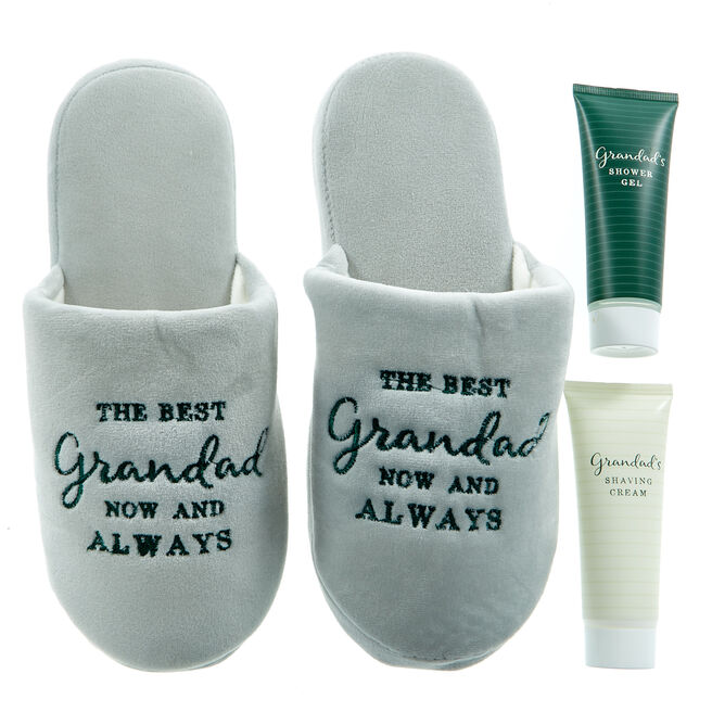 Grandad's Slippers & Toiletries Set - Size 10-11