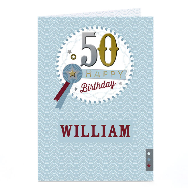Personalised 50th Birthday Card - Rosette