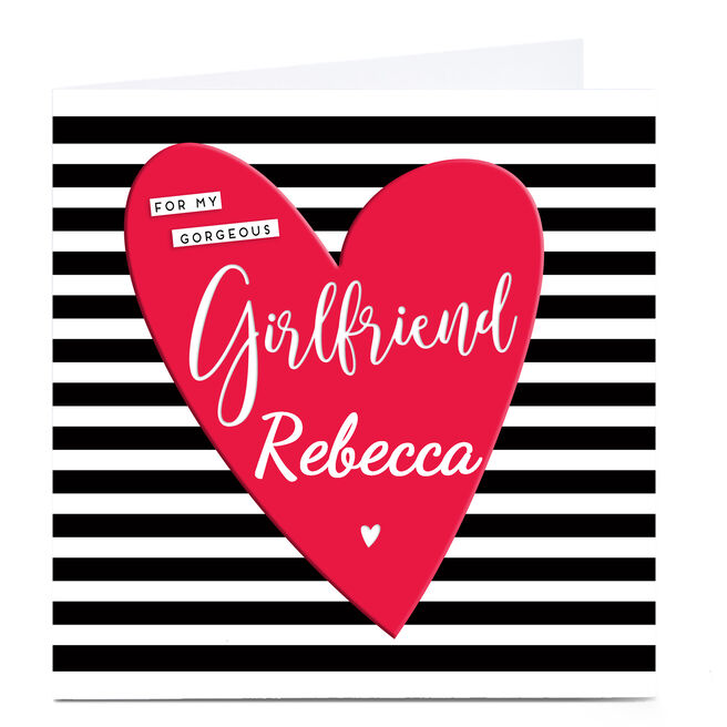 Personalised Card - Girlfriend Monochrome Stripe