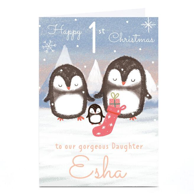 Personalised Juniper and Rose 1st Christmas Card - Daughter