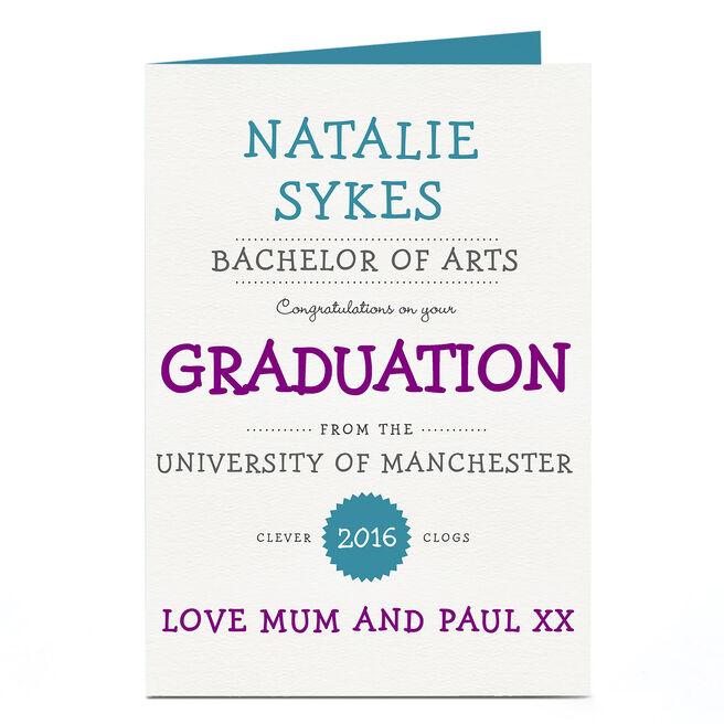 Personalised Graduation Card - Congratulations
