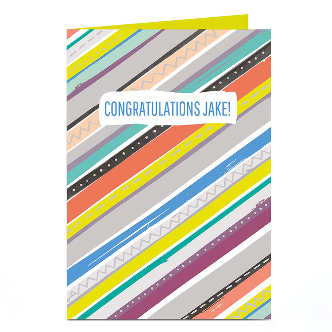 Personalised Any Message Card - Muti-Coloured Stripes