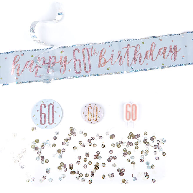 Rose Gold 60th Birthday Party Accessories Kit - 11 Pieces