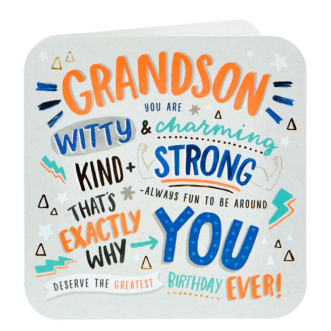 Birthday Card - Grandson, Witty & Charming