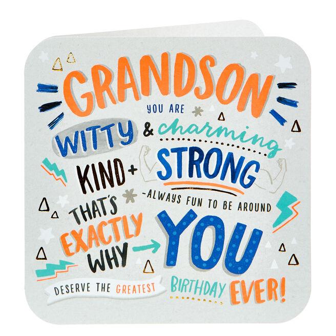 Birthday Card - Grandson, Witty & Charming