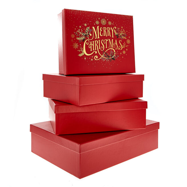 Traditional Merry Christmas Gift Boxes - Pack Of 4