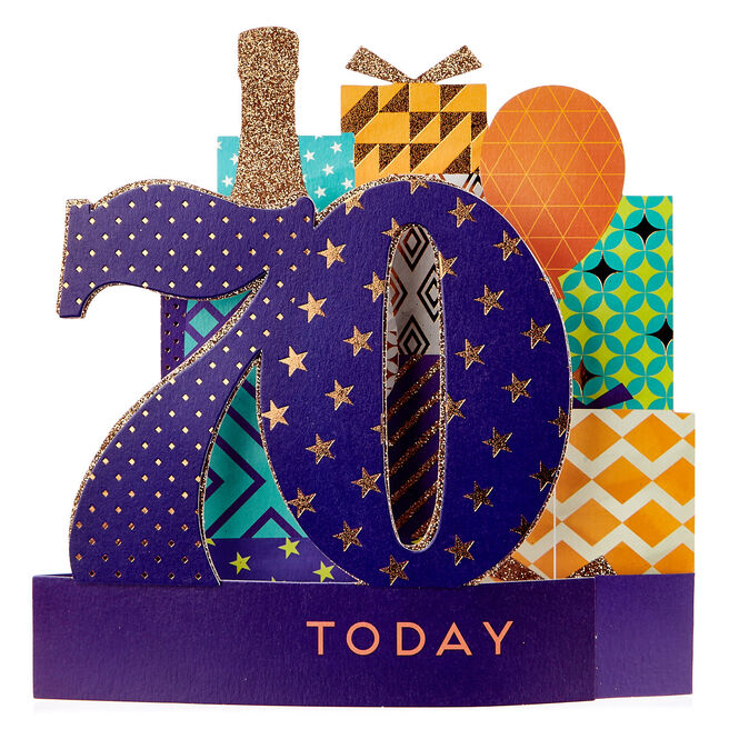 Exquisite Collection 70th Birthday Pop-Up Card - Pile Of Presents