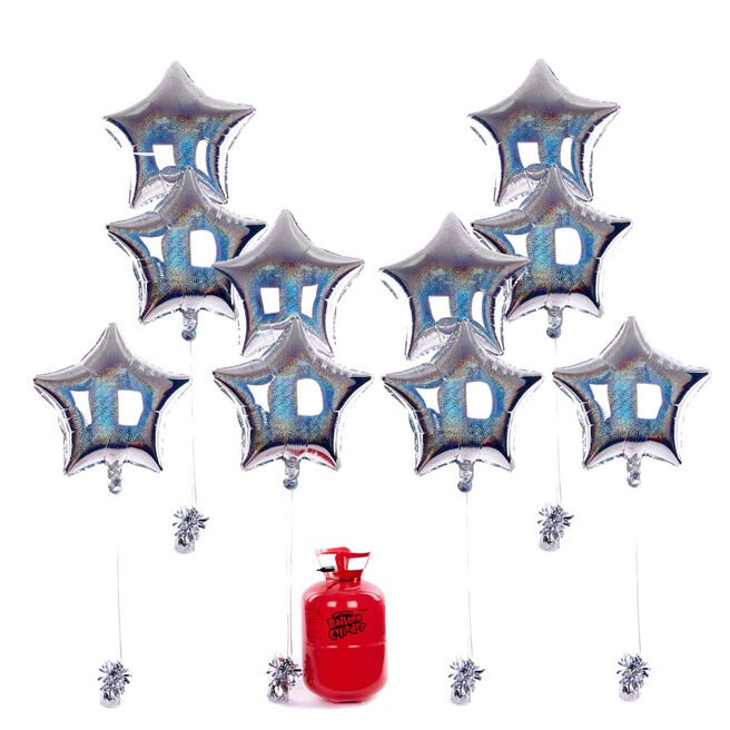 Party Balloon Bundle - 10 Silver Stars & Helium - FREE NEXT DAY DELIVERY