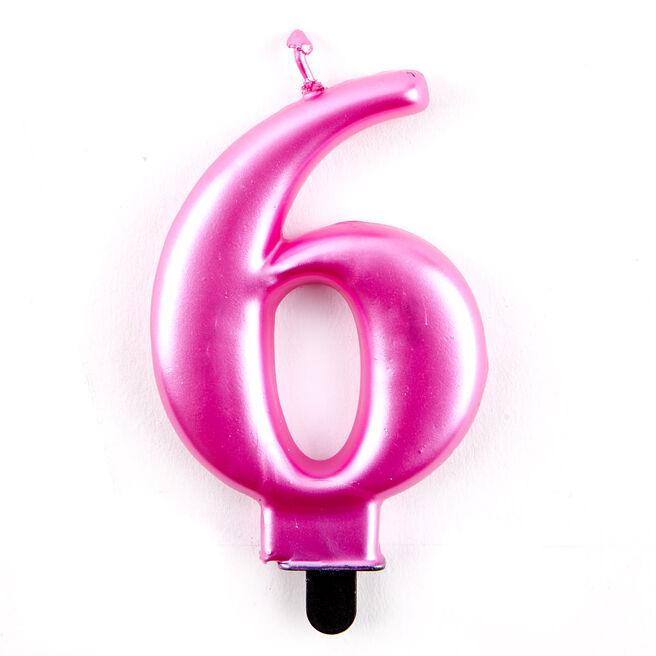 Pink Metallic Number 6 Birthday Candle