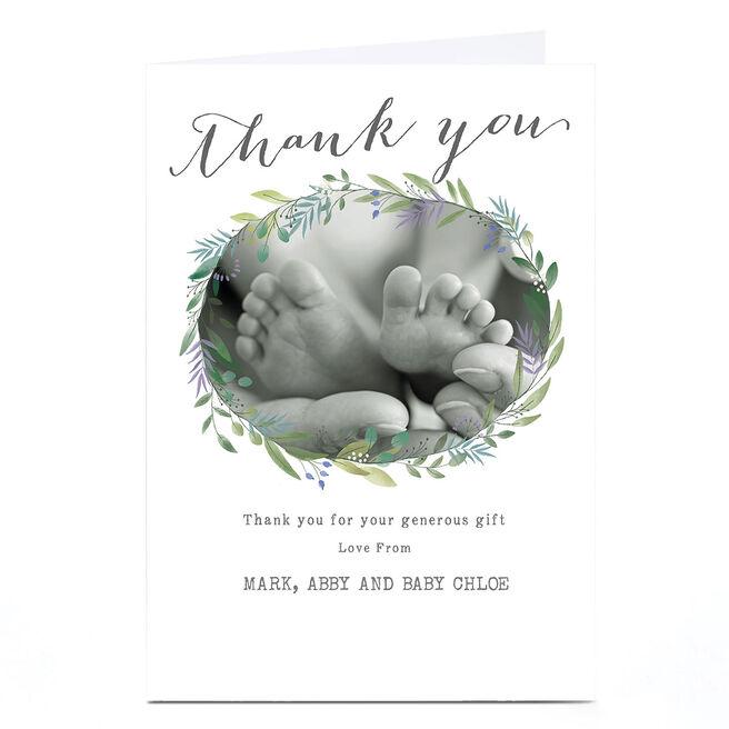 Photo New Baby Card - Botanical Thank You Wreath
