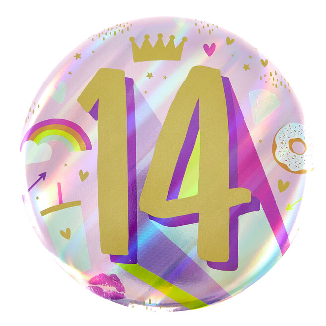 Giant 14th Birthday Badge - Pink
