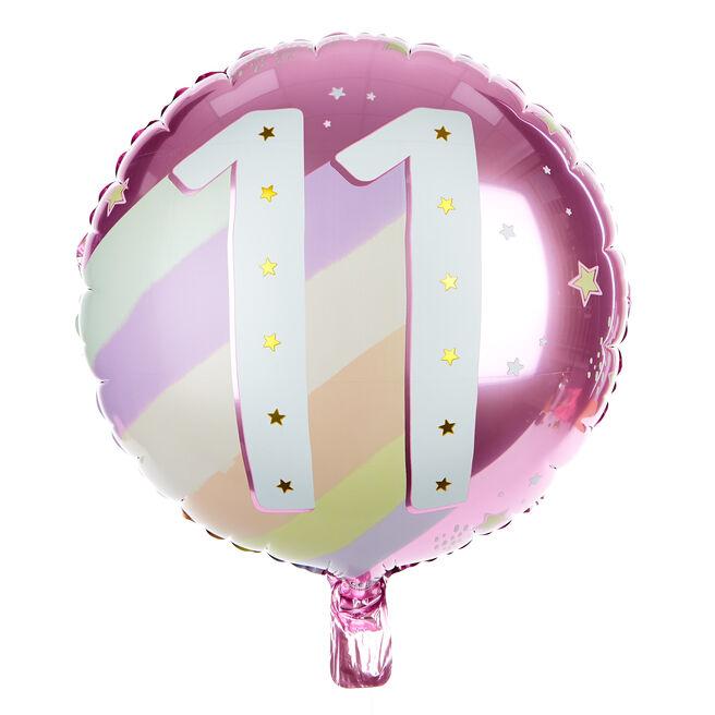 Pink & Cream 11th Birthday 18-Inch Foil Helium Balloon