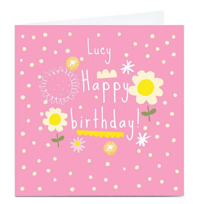 Personalised Squirrel Bandit Birthday Card - Pink and Daisies