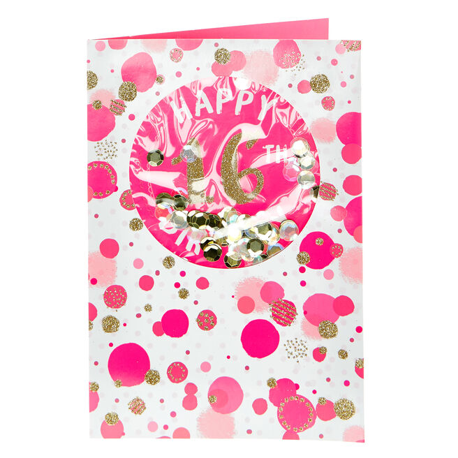 16th Birthday Card - Pink & Gold Spots