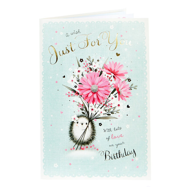 Birthday Card - A Wish Just For You, Hedgehog