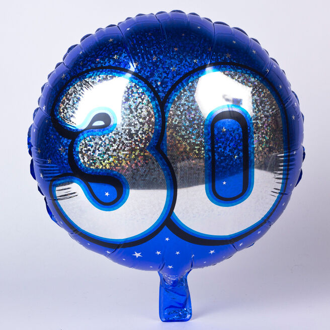 Holographic Blue Age 30 Foil Helium Balloon