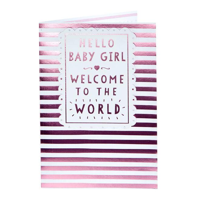 New Baby Card - Hello Baby Girl