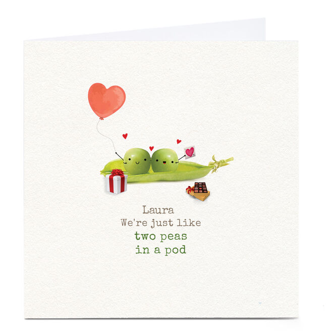 Personalised Valentine's Card - Two Peas In A Pod
