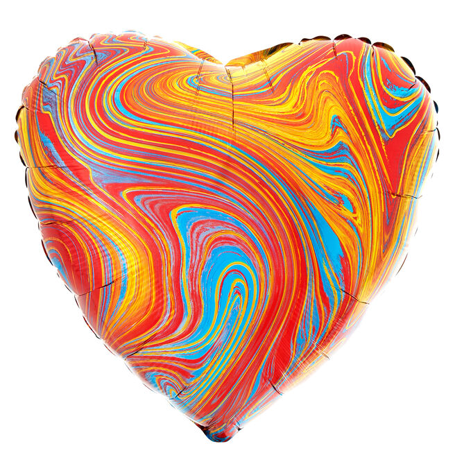 Colourful Heart Marble-Effect 17-Inch Foil Helium Balloon