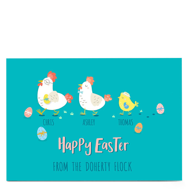 Personalised Easter Card - Family Of 3