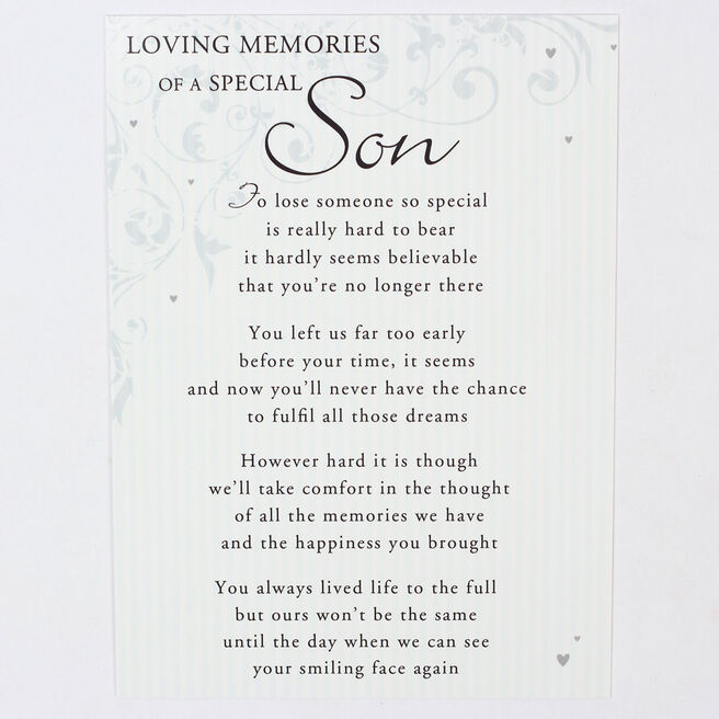 Memorial Card - Special Son