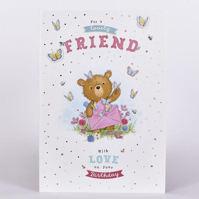 Birthday Card - Friend, Bear & Butterflies