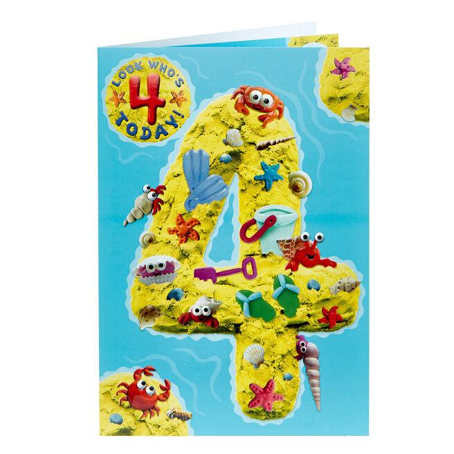 4th Birthday Card - Beach Creatures