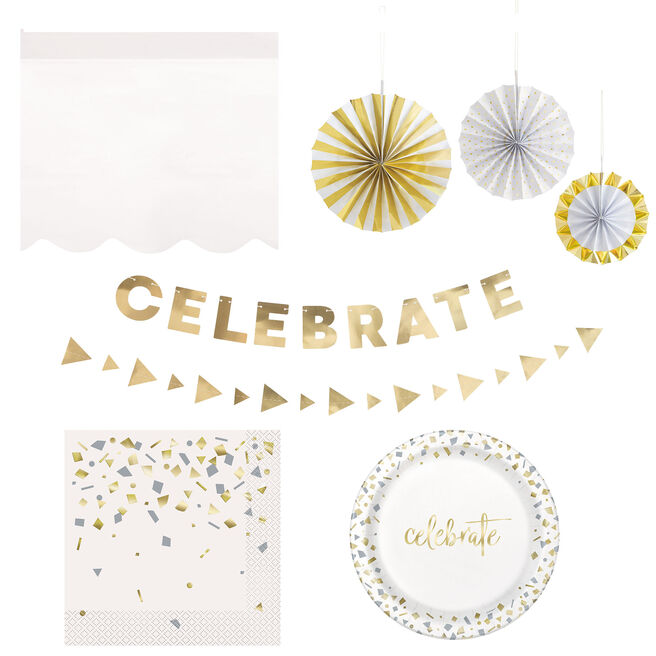 Gold Confetti Party Tableware & Decorations - 20 Guests