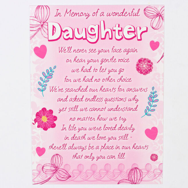 Memorial Card - Wonderful Daughter